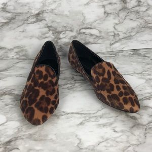NINE WEST cow hair leopard print loafers size 8